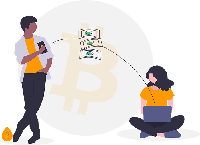 Bitcoin Digitales Zahlungsmittel Illustration