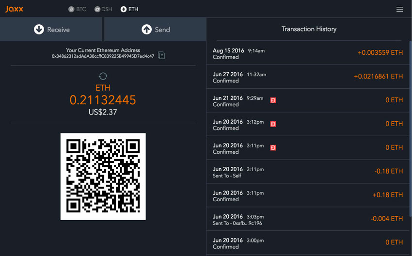 Jaxx Krypto Wallet