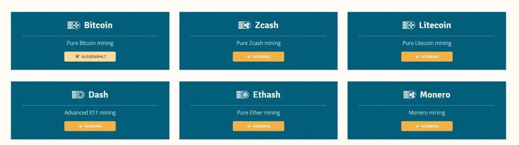 Kryptowährungen Mining Auswahl